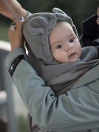 Cagulă din fleece pentru bebe Grey-Mint