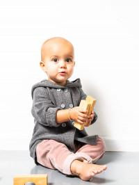 Cardigan tricotat bebeluşi Paul Dark Grey