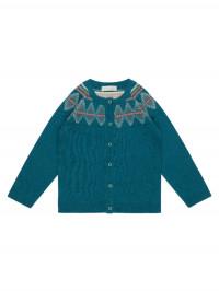 Cardigan tricotat fete Ova Petrol