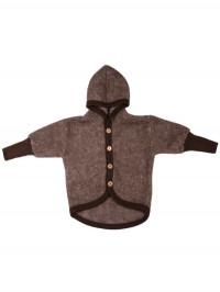 Jachetă lână fleece şi bumbac, Brown Melange