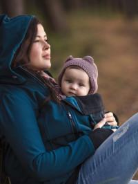 Jachetă pentru sarcină şi babywearing 3în1, din softshell, Petrol