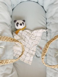Jucărie de confort tip păturică Panda, bumbac organic