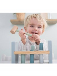 Jucărie din lemn cu cilindri şi ciocan albastru