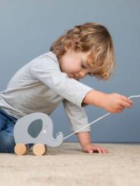 Jucărie din lemn cu roţi Elefant