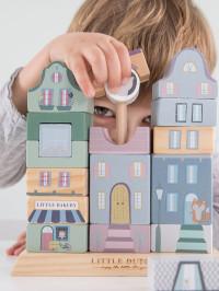 Jucărie lemn stivuire Clădiri albastru