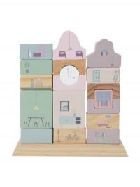 Jucărie lemn stivuire Clădiri roz