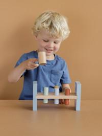 Jucărie lemn cu cilindri şi ciocan albastră