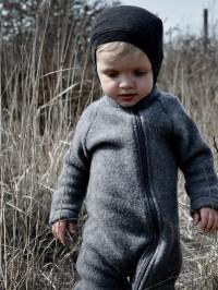 Overall cu mănuşi, lână fleece Melange Grey