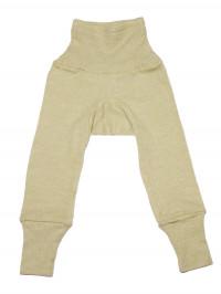 Pantaloni cu talie înaltă, lână,bumbac şi mătase, verde