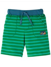Pantaloni scurţi bumbac organic, dungi verzi