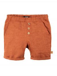 Pantaloni scurţi din in Dusty Orange