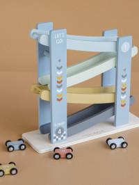 Pistă lemn cu maşinuţe albastră