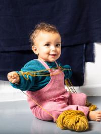 Pulover tricotat bebe Victor Petrol Blue
