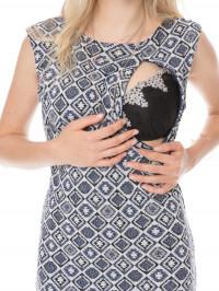 Rochie sarcină şi alăptare Gioia, romburi albastre