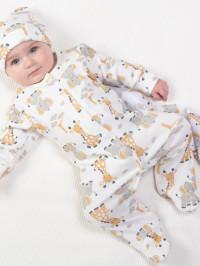 Salopetă pijama bumbac organic Giraffe