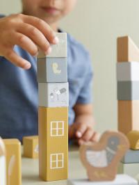 Set cuburi lemn construcţie, albastre