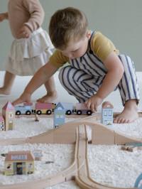 Set şine şi tren 108 piese lemn