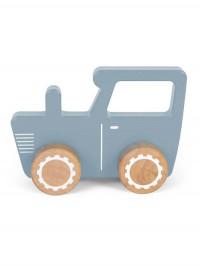 Tractor lemn albastru