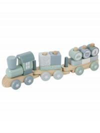 Trenuleţ albastru din lemn cu forme