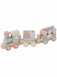 Trenuleţ roz din lemn cu forme