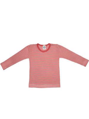 Bluză copii lână şi mătase, dungi roşii