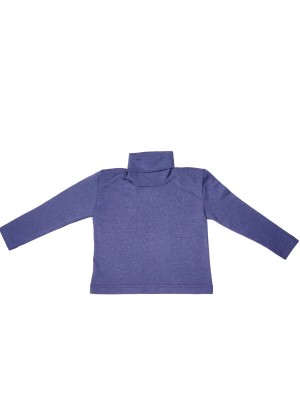 Bluză guler înalt lână şi mătase, marine