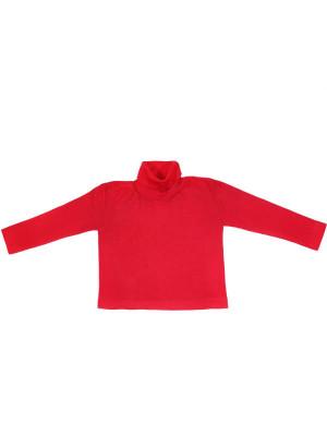Bluză guler înalt lână şi mătase, roşu