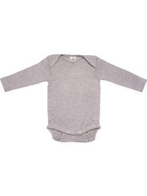 Body mânecă lungă, lână şi mătase Grey