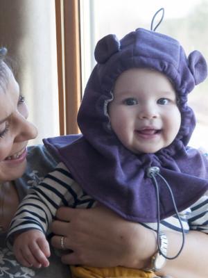 Cagulă din fleece pentru bebe Purple