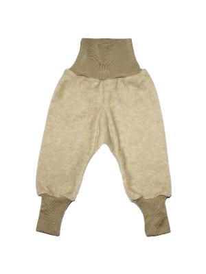 Pantaloni lână fleece şi bumbac Latte