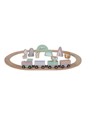 Set trenuleţ lemn cu şine şi accesorii, roz