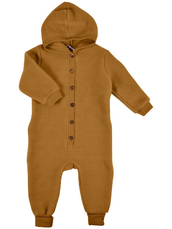 Overall cu glugă, lână merinos fleece, Golden Brown